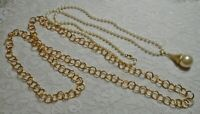 LONG GOLD TONE CHAIN & CHUNKY FAUX PEARL BEADED PENDANT NECKLACE LOT