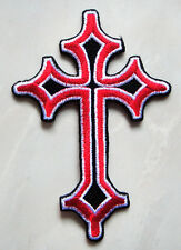 Beautiful Red Gothic Cross Biker Embroidered Iron on Patch Free Shipping