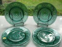 "Tiara Indiana Glass 4 Spruce Green Sandwich 8 1/4"" Salad Luncheon Plates"