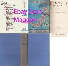 Leslie Charteris  THE SAINT IN MIAMI  1st w/fdj 1941 Hodder Crime Mystery