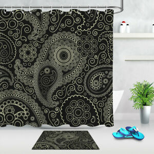 Black Background Paisley Pattern Bathroom Shower Curtain Set Waterproof Fabric