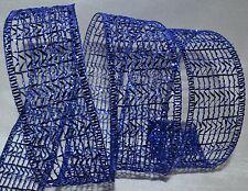 Wired Ribbon~Sheer~Glitz Metallic Blue Mesh~Holiday Net~Christmas~Wreath~Bow