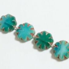 6pcs Two Tone Blue Turquoise Czech Glass Flower Beads 9mm Table Cut Boho GB45