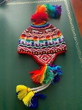 PERUVIAN CHULLO HAT WITH BEADS MULTICOLOURED RAVE FESTIVAL  HAND MADE  01