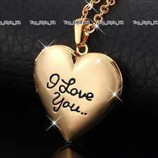 I Love You Gold Locket Necklace Women Presents for Her Girlfriend Wife Mum J592