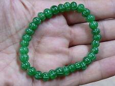 (eH541)  Green Emerald Hand Carved Beads Bracelet