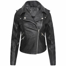 Women's PU Faux Leather Motorcycle Asymmetric Biker Jacket