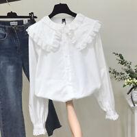Women Retro Lolita Lace Blouse Shirt Peter Pan Collar Loose Top Ruffle Frill