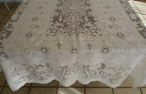 """True Vintage Quaker Lace Tablecloth Art Deco Floral Garden Picots 84"""""""