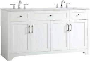 BATHROOM VANITY SINK TRADITIONAL ANTIQUE DOUBLE WHITE BRUSHED NICKEL GRAY P