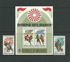 Maldives 1973 Gold Medal Winners SG435-36 + MS437 mnh. Cat.£15