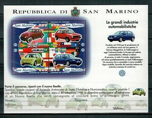 SAN MARINO - AL FACCIALE - 1997 AUTOMOBILI VOLKSWAGEN FOGLIETTO ** MNH