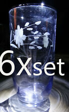 "Etched cut Flower crystal glass set 6 lot small hand floral 4"" wheat vintage"