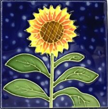 "Sunflower Decorative Hand Painted Ceramic Tile 4""x 4"" Table or Wall Mount"
