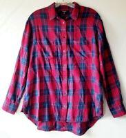 Madewell Edina Size Small S Red Blue Plaid Shirt Blouse Top Boyfriend
