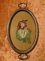 Antico Legno Servire Vassoio Con Ricamo / Fatto a Mano/Collage - Circa 1900