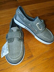 NEW boys sz 11 Nautica gray canvas loafer shoes