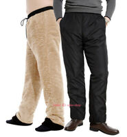 Men Winter Thick Warm Fleece Lined Pants Casual Loose Long Sports Trousers Black