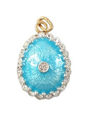 Pendentif Oeuf style Fabergé en Argent plaqué Or, Pendentif en Emaux déco strass