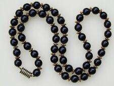 """Vintage Brass & 9 mm Jet Glass Bead Necklace 26"""""""