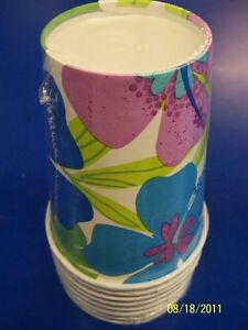 Floral Paradise Cool Flower Hibiscus Summer Luau Beach Party 9 oz. Paper Cups