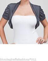 Slate Gray Cropped Short Sleeve Open Front Bolero/Shrug/Cardigan S