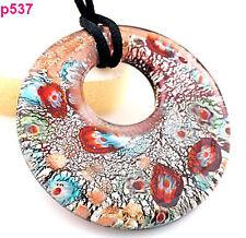 1pc Unique double circularity round Murano Lampwork Glass Pendant Necklace p537