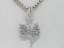 Brillant Anhänger 585 Weißgold 14Kt Gold Blume Weiße Rose 10 Brillanten