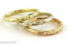 Stackable Wedding Bands 14k Gold Three Rings Hand Made