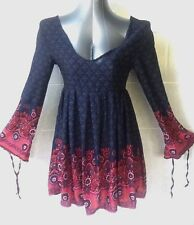 Meiling Navy Blue Skater Dress, Mini Long Sleeves with Ties, Open Back Size 8
