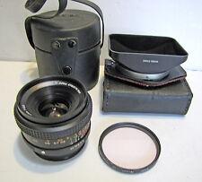 Vintage Konica Hexar AR 28mm 3.5 Wide Angle Manual Focus Camera Lens +Case Hood