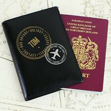 Black Passport Cover Holder PERSONALISED Genuine Leather Girl or Boy P101474