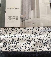 NWT Threshold Black & White Floral Print Shower Curtain w/ Trim