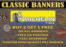 Classic Michelin Tyres Banner for Garage / Workshop Retro Sign Blue and Yellow