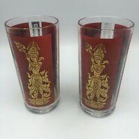 (2) VTG Mid-Century 60s Red/Gold Thai Goddess/Geisha HIGHBALL Glasses Barware