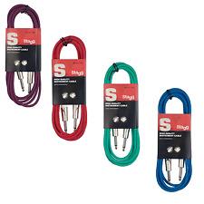 4 Câbles Jack 6,35 Mâle Mono vers Jack 6,35 Mâle en 4 Couleurs 3 Metres