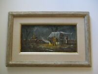 GERRY METZ OIL PAINTING WESTERN PIONEER LANDSCAPE CAMP CARRIAGE  HORSES FAMOUS