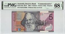 """Australia 2001 P-56a Pmg Superb Gem Unc 68 Epq 5 Dollars """"Commemorative"""""""
