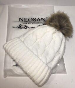 Thick Cable Knit Faux Fur Pom Pom Ski Beanie Hat W/ Lining ~Ivory ~One Size ~NEW