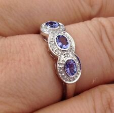 Real tanzanite & diamond ring, 9ct solid white gold, uk size P, new, actual one.