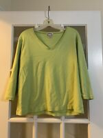 chicos lime green long sleeved v neck basic shirt chicos size 3