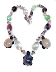 """Chunky Carved Gemstone Turtle Necklace Amethyst Rose Green Smoky Quartz 22"""" Long"""