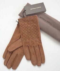 New Authentic BOTTEGA VENETA Intrecciato Brown Genuine SUEDE Gloves 75/US-7.5