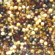 50 Perles à Facettes de boheme 4mm MULTICOLORE TONS MARRON