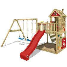 WICKEY Spielturm Kletterturm Smart Lodge 120 Klettergerüst rote Rutsche & Plane