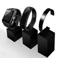 Watch Bracelet Jewelry Showcase Display Black Clear Plastic Stand Holder Rack/
