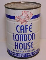 Old Vintage 1960s CAFE LONDON HOUSE COFFEE GRAPHIC 1 POUND TIN MONTREAL CANADA