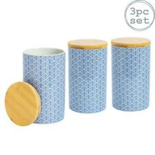 Tea Coffee Sugar Canisters Kitchen Storage Canister Set - Blue - x3