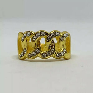 Yellow Gold 18K  Filled Copper Cuban Link Clear Rhinestone Band Ring Size US 8