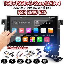 9'' Android 8.0 Car Stereo GPS Sat Radio Nav OBD WiFi Camera For BMW E46 3 Serie